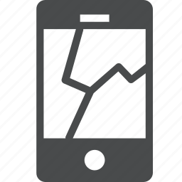 broken, cracked, device, iphone, phone, screen icon