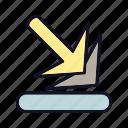 arrow, arrow-down-right, back, down, forward, next, right icon