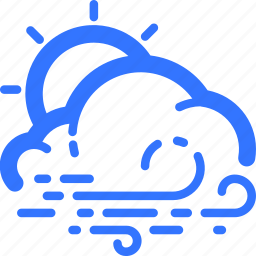 cloud, cloudy, day, sun, weather, wind, windy icon