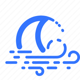 crescent, moon, night, weather, wind, windy icon
