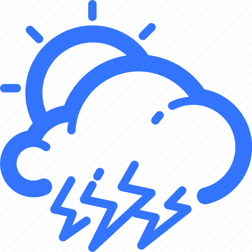 cloud, lightning, sun, thunderstorm, weather icon