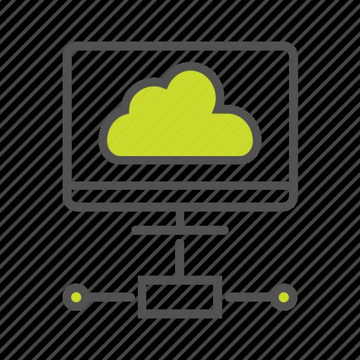 cloud network, cloud server, internet, iot, lan icon