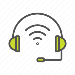 headphone, helpdesk, internet, internet of things, iot, wifi, wireless headset icon
