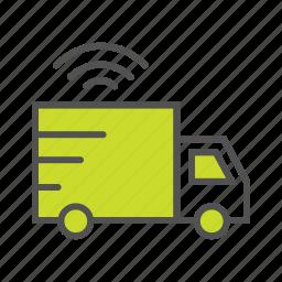 cargo, delivery van, gps tracking, internet of things, iot, smart van, wifi icon