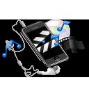 apple, earphone, iphone, multimedia, music, note, video