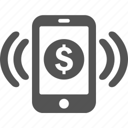 android, finance, iphone, mobile, money, ringing, wireless icon