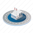 architecture, building, city, factory, industry, isometric icon