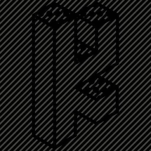3d alphabet, alphabet, english, kindergarten, letter k icon