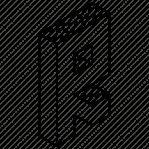 3d alphabet, alphabet, english, kindergarten, letter r icon