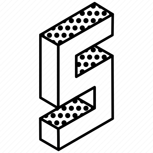 3d alphabet, alphabet, english, kindergarten, letter s icon