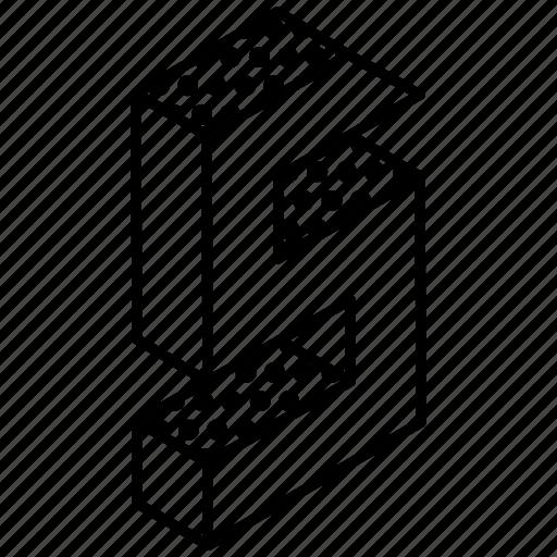 3d digit, 3d five, 3d number, 3d numeric, 3d typography icon