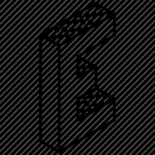 3d alphabet, alphabet, english, kindergarten, letter e icon