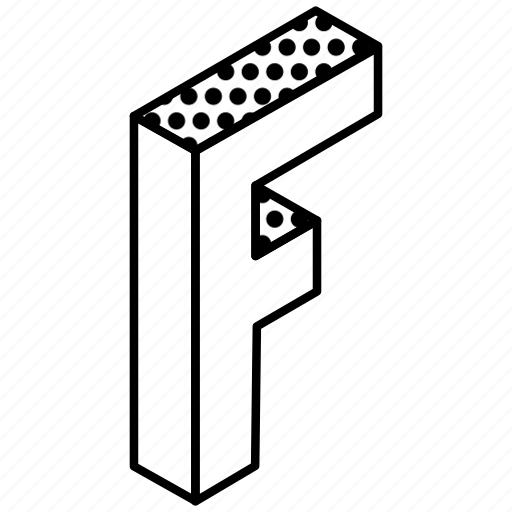 3d alphabet, alphabet, english, kindergarten, letter f icon