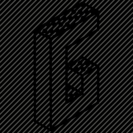 3d alphabet, alphabet, english, kindergarten, letter g icon