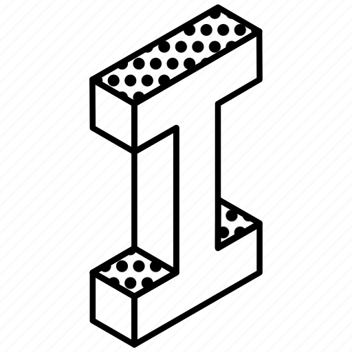 3d alphabet, alphabet, english, kindergarten, letter i icon