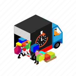 car, cargo, delivery, loaders, loading, transport, unloading icon