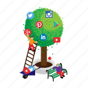 google, instagram, linkedin, media, social, tree, twitter