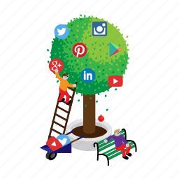 google, instagram, linkedin, media, social, tree, twitter icon