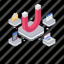 attracting customers, digital marketing, horseshoe magnet, inbound marketing, marketing automation icon