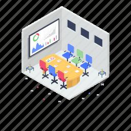 board meeting, business analytics, business presentation, growth chart, meeting room, seminar