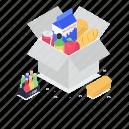 food box, food charity, food donation, food storage, grocery items