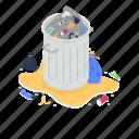 garbage can, waste bin, garbage disposal, trash can, waste disposal icon