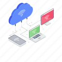 cloud computing, cloud devices, cloud hosting, cloud technology, connected devices icon