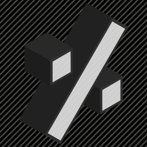 fraction, isometric, math, percent icon