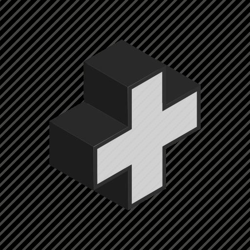 add, calculate, isometric, plus icon