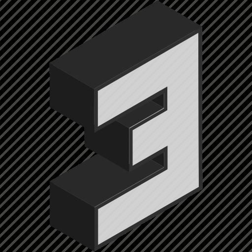 digit, isometric, number, third, three icon