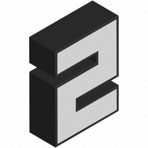 block, digit, isometric, number, pair, second, two icon