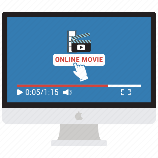 computer, imac, mac, monitor, movie time, online movie, screen icon