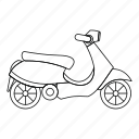 italy, line, motorbike, motorcycle, outline, retro, scooter icon
