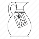 bottle, jug, label, line, oil, olive, outline icon