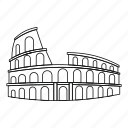 arena, building, coliseum, line, outline, roman, stadium icon