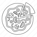 slice, outline, food, fast, lunch, line, pizza icon
