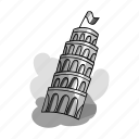 architecture, building, construction, inclined, italy, pisa, tower icon