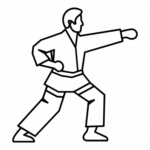 fight, fighter, karate, kick, line, outline, training icon