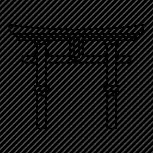 gate, japan, line, outline, shrine, torii, travel icon