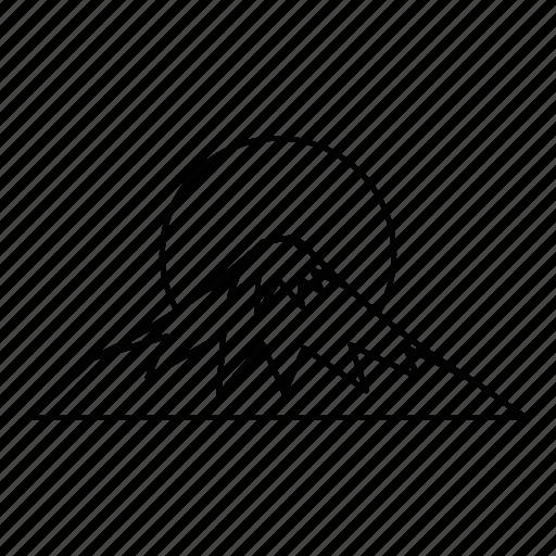 drawn, fuji, greeting, line, mountain, outline, sacred icon