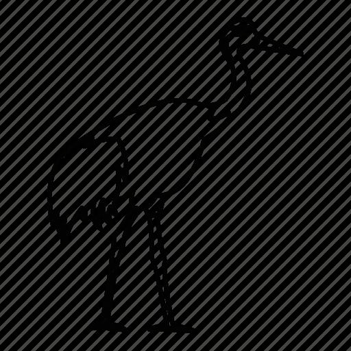 bird, crane, japanese, line, outline, pattern, stork icon