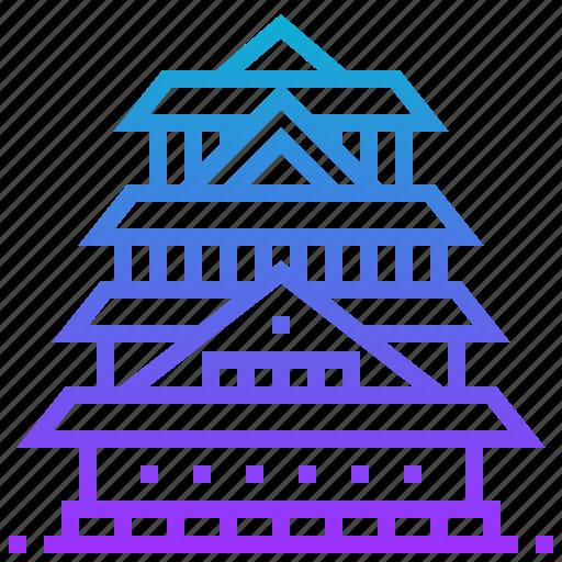 building, castle, japan, landmark, osaka icon