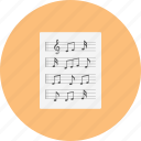 classical, intrumental, jazz, music, note, paper, retro icon