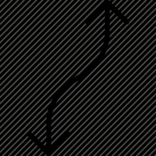 arrow, direction, double, move, orientation, road icon