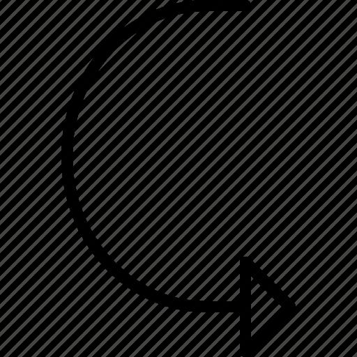 arrow, curve, direction, move, orientation, road icon