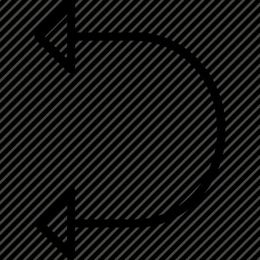 arrow, curve, direction, double, move, orientation, road icon
