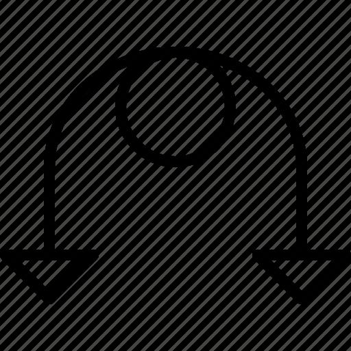 arrow, detour, direction, move, orientation, road icon