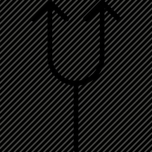 arrow, crossroads, direction, double, move, orientation, road icon