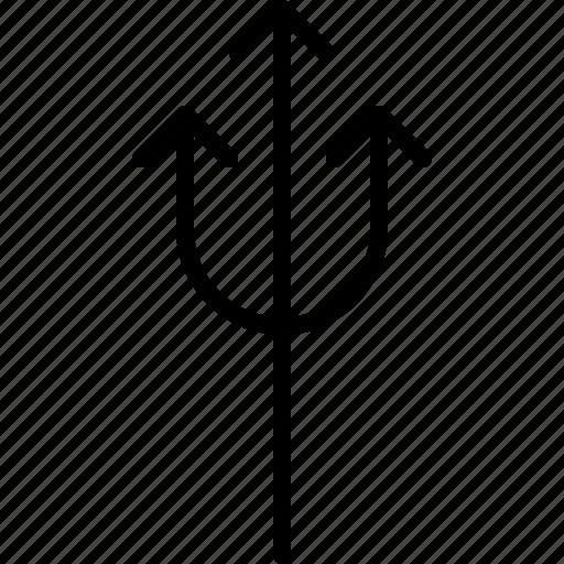 arrow, crossroads, direction, move, orientation, road, triple icon