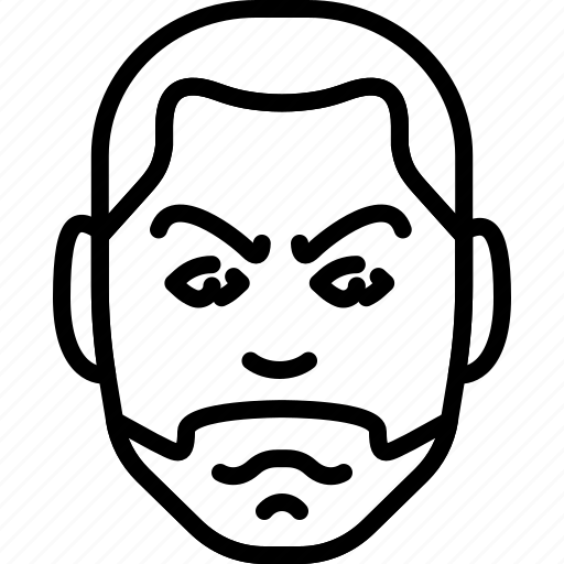 angry, avatar, beard, face, people, person icon